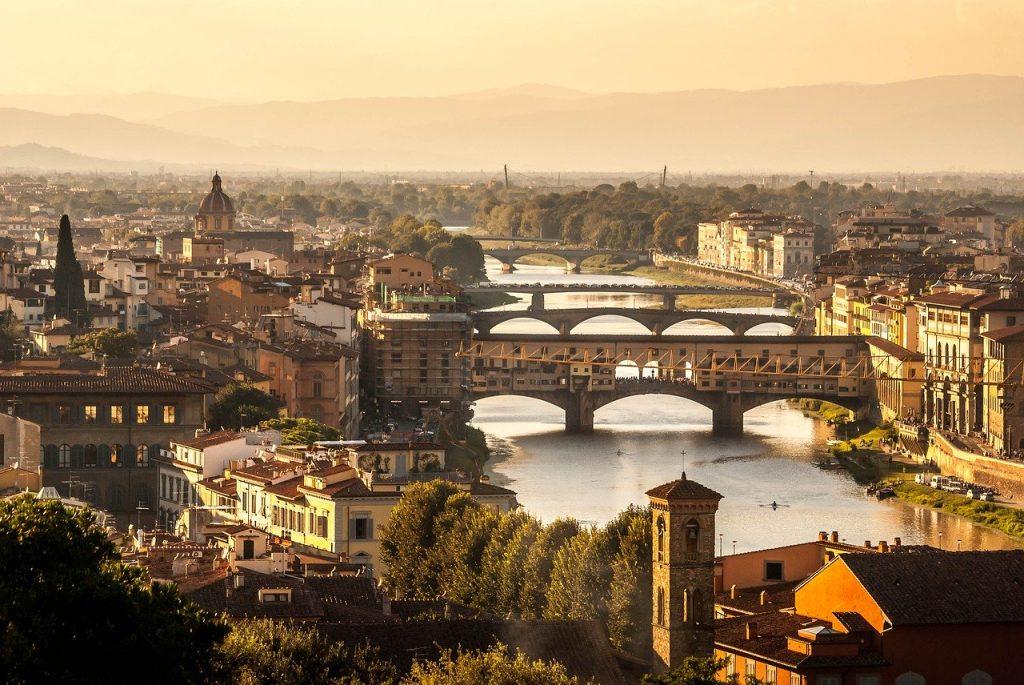 Aerial view of Ponte Vecchio